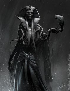 Lich concept art designs featured by dozens of artists. A fantastic gallery for undead & lich creature art inspiration. Egyptian Mythology, Egyptian Goddess, Egyptian Symbols, Osiris Tattoo, Bastet Tattoo, Egypt Concept Art, Ancient Egypt Art, Ancient Artifacts, Ancient Aliens