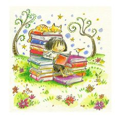 Illustration by Peter H. Reading Art, Girl Reading, I Love Reading, Reading Fluency, Reading Books, Illustrations, Children's Book Illustration, I Love Books, Books To Read