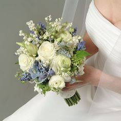 Wedding White Bouquet with Blue and Pearl Accents