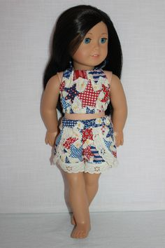 18 inch doll clothes, star print halter top, star print lace trim dolphin shorts , Upbeat Petites by UpbeatPetites on Etsy