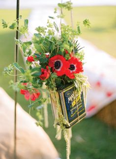 ceremony aisle arrangements in vintage tins #wedding