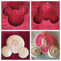 Mickey Mouse cookie cutter into a Cinderella carriage Cinderella party Iced Cookies, Cute Cookies, Royal Icing Cookies, Cookies Et Biscuits, Cupcake Cookies, Sugar Cookies, Owl Cookies, Mickey Mouse Cookie Cutter, Cookie Cutters