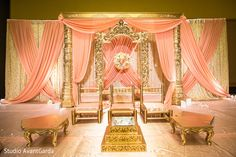 Reception Stage Decor, Wedding Stage Decorations, Engagement Decorations, Desi Wedding Decor, Wedding Mandap, Wedding Chairs, Pink Backdrop, Dream Decor, Draping