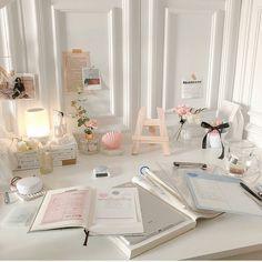Room Pink - Bright Idea - Home, Room, Furniture and Garden Design Ideas Study Room Decor, Cute Room Decor, Study Rooms, Bedroom Decor, Pastel Room Decor, Study Desk, Study Space, Study Areas, Desk Space
