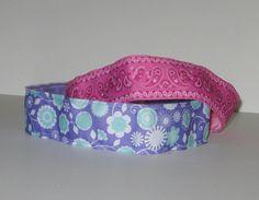 No Slip Headband, Wide, Purple & Aqua Flowers, Pink Bandanna, Elastic Headband, Sweaty Band,  Marathon