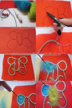 Tutorial 1: (felted zipper jewelry) aka tuto1-mariposa-enfieltrada
