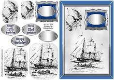 All At Sea on Craftsuprint designed by Hilary Hallas - An A5 card front with pyramid layers featuring two old sailing ship drawings in charcoal grey. An ideal male birthday card, there is also a blank tag for other occasions. - Now available for download!