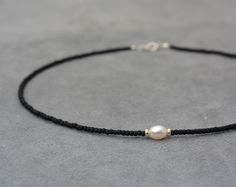 One white pearl, Silver 925 beads and black sead bead necklace - short necklace - one pearl necklace - Chocker necklace - Boho jewelry by 1001ArtBeads on Etsy https://www.etsy.com/listing/290587613/one-white-pearl-silver-925-beads-and