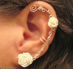 "Non Pierced Ear Cuff ""Roses are White"" Cartilage Conch Cuff Silver tone Wedding Prom."