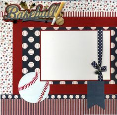 Premade Baseball Scrapbook Page page was created using a mix of printed cardstock, textured cardstock, ribbon, baseball phot Scrapbook Disney, Paper Bag Scrapbook, Birthday Scrapbook, Scrapbook Supplies, Graduation Scrapbook, Halloween Scrapbook, Christmas Scrapbook, Scrapbook Designs, Scrapbook Page Layouts
