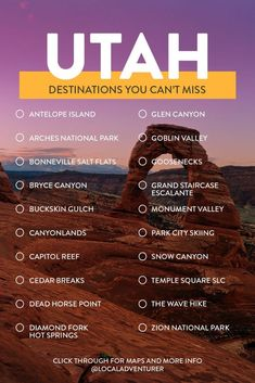 bucket list destinations Your Utah Bucket List - Fun Things to Do in Utah // Local Adventurer Travel List, Travel Guides, Usa Travel, Travel Vlog, Beach Travel, Spain Travel, Hawaii Travel, Travel Packing, Italy Travel
