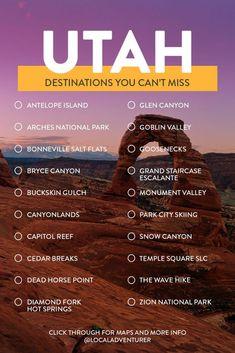 bucket list destinations Your Utah Bucket List - Fun Things to Do in Utah // Local Adventurer Travel List, Travel Advice, Usa Travel, Travel Vlog, Travel Packing, Travel Bags, Travel Ideas, Travel Photos, Travel Inspiration