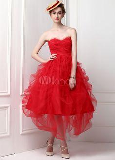 Robe de soirée boule rouge en gaze bustier longueur mollet - Milanoo.com