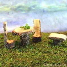 Miniature woodland fairy garden bistro set by Woodland Fairy Gardens on Etsy #fairy #gardening