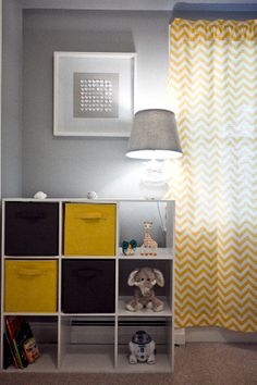 Yellow Gray Nursery Chevron Elephant Giraffe Hippo Lion