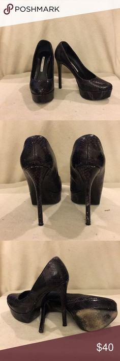 Python Leather 5in. Stilletos Gently worn black python leather platform stilettos. Vera Wang Shoes Platforms
