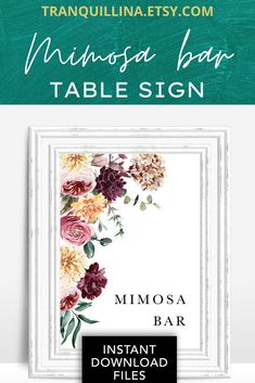 Greenery floral mimosa bar sign. Party table decoration for weddings, bridal showers, baby showers etc. Right after purchase, you can download and print it, easy process in just a few clicks. Visit our #etsy store for more matching items and party invitations: tranquillina.etsy.com #wedding #decor #bridalshower #babyshower #party #decoration #tablesign #signs #mimosabar #pink #burgundy Bridal Shower Signs, Bridal Showers, Baby Showers, Wedding Favor Table, Wedding Favors, Wedding Decor, Wedding Invitation Sets, Bridal Shower Invitations, Party Invitations