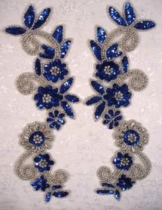 Blue & Silver Mirror Pair Sequin Beaded Appliques 0183 I need these. Pearl Embroidery, Tambour Embroidery, Hand Work Embroidery, Couture Embroidery, Embroidery Fashion, Silk Ribbon Embroidery, Hand Embroidery Designs, Vintage Embroidery, Embroidery Thread
