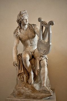 Roman copy of a Hellenistic Greek marble statue of Apollo Roman Sculpture, Art Sculpture, Ancient Romans, Ancient Art, Apollo Statue, Antoine Bourdelle, Greek Pantheon, Greek And Roman Mythology, Roman Art