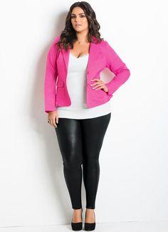 Blazer em Sarja (Pink) Plus Size