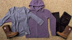 #Carhartt Women's Norfolk Henley, Carhartt Sweatshirt, Straight Fit Jeans, & Wellington Boots