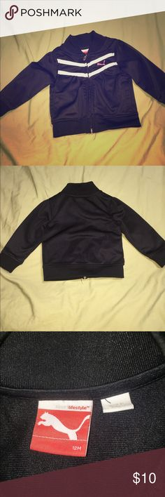 Puma jacket - 12 months - baby girl Puma jacket- color  black with white stripes -12 months - baby girl Could fit a 9-12 month baby. puma runs a little smaller Puma Jackets & Coats Blazers