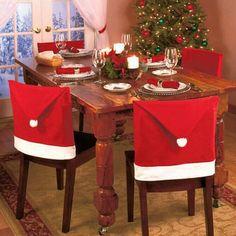CHRISTMAS SANTAS TABLE RED WHITE FLEECE POM POM PAIR OF CHAIR BACK COVERS 20 X 24