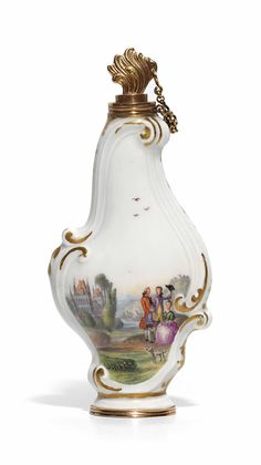 A MEISSEN GOLD-MOUNTED ROCOCO SCENT-BOTTLE AND A STOPPER CIRCA 1760-65, THE MOUNTS LATER...