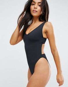 ASOS FULLER BUST Exclusive Plunge Side High Leg Swimsuit DD-G