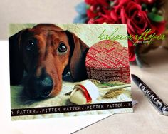 Puppy Love Dachshund Valentine Card by kalyxcraftopia on Etsy
