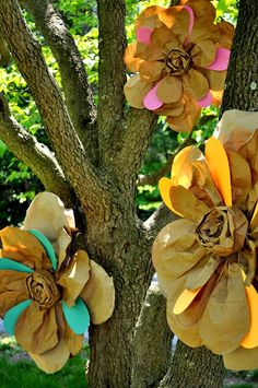 Brown craft paper flowers with pops of color.