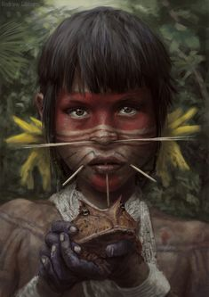 Native Art, Native American Art, Amazon Girl, Tribal People, Indigenous Art, Visionary Art, People Of The World, Photomontage, World Cultures