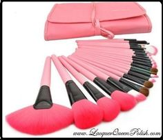 Lacquer Queen Polish and Cosmetics - 24pc Pink Make-Up Brush Set http://www.lacquerqueenpolish.com/24pc-Pink-Make-Up-Brush-Set.html