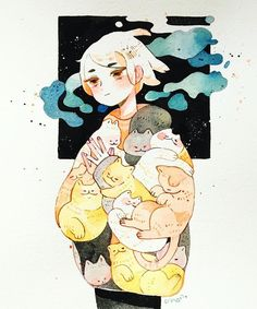 Cat warmer/ the days are getting colder. more and more i'm dreaming about being buried in warm cats Character Drawing, Character Illustration, Watercolor Illustration, Watercolor Art, Cute Art Styles, Kawaii Art, Character Design Inspiration, Aesthetic Art, Cute Drawings
