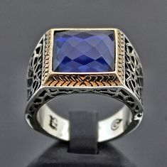 925 Sterling Silver Men's Ring Sapphire Blue Zirconia Unique Handmade Jewelry #Handmade #Solitaire