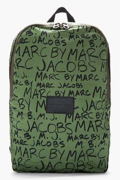 MARC BY MARC JACOBS Green Scribble Printed Packables Backpack