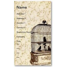 Vintage Bird Cage Business Card Templates