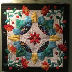 I was laid up for two weeks and thought I'd try making a block. Then it grew into a wall hanging! Crazy Quilt Blocks, English Paper Piecing, Barn Quilts, Applique Quilts, Quilt Making, Quilting Designs, Quilt Patterns, Crafty, Blanket