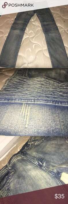Biker/Distressed Jeans Retro colorway with scratch distressing and biker ribs Jeans Slim