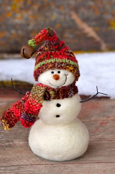 Snowman - Wool Needle Felted Snowmen - winter decor - 196. $50.00, via Etsy.