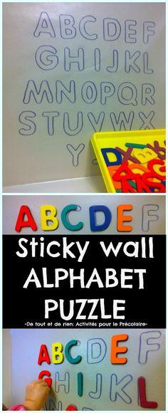De tout et de rien: Activités pour le Préscolaire: Sticky wall alphabet puzzle - Casse-tête de l'alphabet sur papier contact