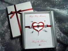 Handmade ruby wedding anniversary card craft ruby