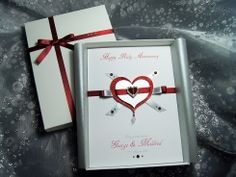 'Everlasting Ruby' - Luxury Handmade Anniversary Card - Everlasting Ruby - Handmade Wedding Anniversary Card