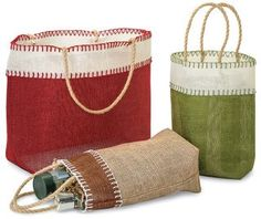 A gift basket alternative - Burlap Stitch Tote Bags from Nashville Wraps.