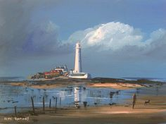 Pete Rumney Art Canvas Painting St Marys Island Lighthouse Whitley Bay Signed | Art, Paintings | eBay! Hand Painting Art, Art Paintings, Look Here, Art For Sale, Lighthouse, Buy Art, Canvas Art, Hand Painted, Island