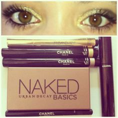 Gold make up with : Touche Éclat Yves Saint Laurent Urban Decay Naked Basics Chanel stylo eyeshadows in Moon River and Cool Gold Khôl in black and mascara Le Volume.