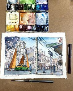พักเรื่องการวาดอาหาร กลับสู่ร่างคนวาดเมือง5555 /// The Old Arch, Phraeng…
