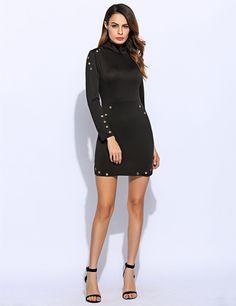 Women Fashion Stand Collar Long Sleeve Slim Pencil Bodycon Mini Dress