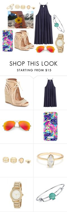 """Untitled #321"" by kcarter02 ❤ liked on Polyvore featuring Jeffrey Campbell, MANGO, H&M, Ray-Ban, Lilly Pulitzer, LULUS, DKNY and Disney"