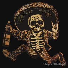 'Day of the Dead Posada' Sticker by ShayneoftheDead Mexican Skull Tattoos, Skull Rose Tattoos, Skeleton Tattoos, Mexican Skulls, Body Art Tattoos, Tattoo Chest And Sleeve, Sleeve Tattoos, Mexican Skeleton, Dad Tattoos